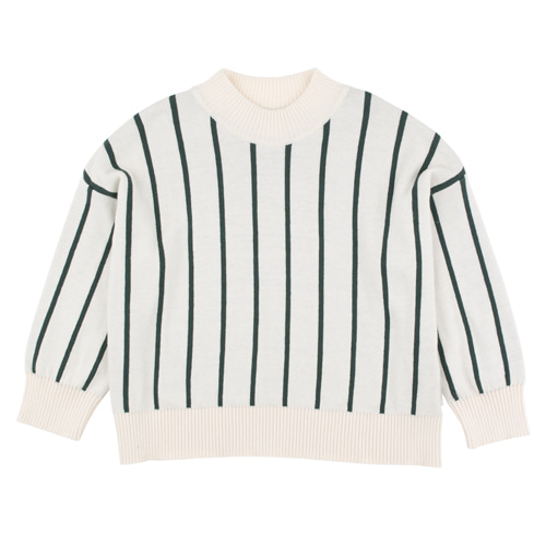 [4y]Stripes Mock Sweater