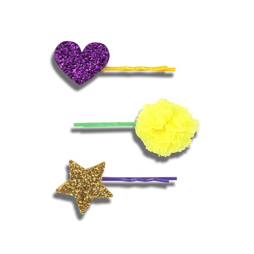 Heart Pom Star Pins (6colors)