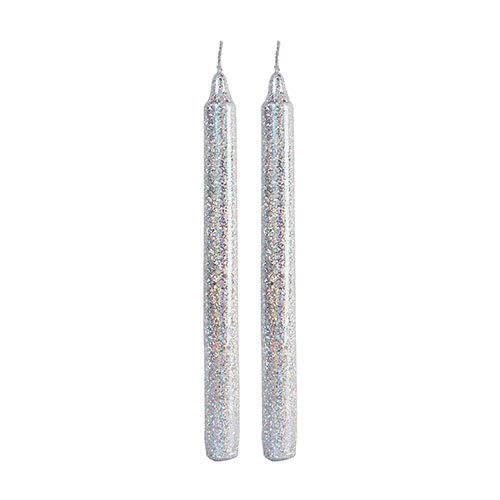 Candle Glitter Silver (set of 2)