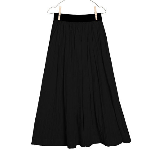 [4y]Flowing Long Skirt (black)