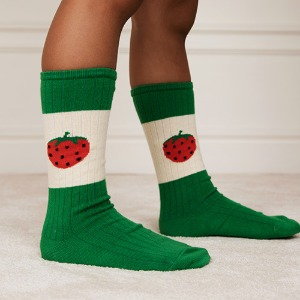Strawberry Ribbed Socks (green)