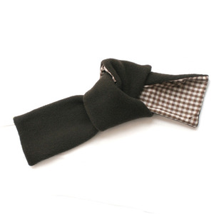 Makie wool fleece scarf (brown checks)