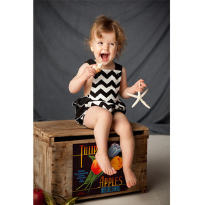 Black and white stripe vintage-inspired sun suit romper