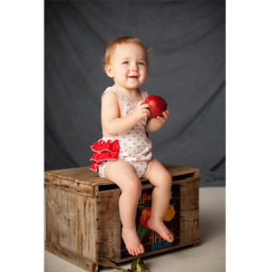 Red and white vintage-inspired sun suit romper 12m