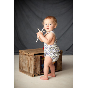 White and blue vintage-inspired sun suit romper 12m
