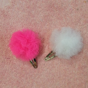 Tulle Pom Barrettes (2colors)