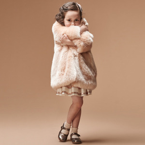 [10y]Faux Fur Coat (blush)