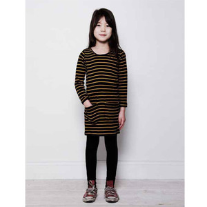 Mini rodini stripe dress (black/mustard)