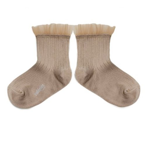 Margaux Tulle Ankle Socks #226 Petite Taupe